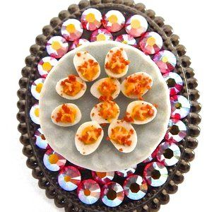 DEVILED EGGS PLATE RHINESTONE RING